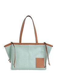 Loewe Sm Cushion Canvas And Leather Tote Bag Aqua