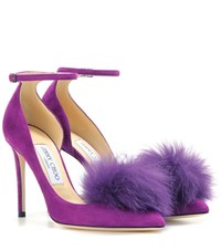 Jimmy Choo Rosa 100 Suede Pumps With Clip On Fur Pompoms Purple