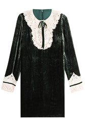 Anna Sui Velvet Dress With Lace Green