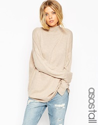 Asos Tall Tunic With High Neck In Cashmere Blend Oatmeal