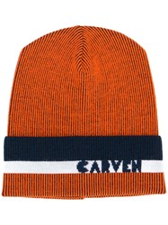 Carven Ribbed Knit Beanie Yellow And Orange