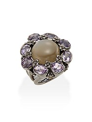 Stephen Dweck Toledo Grey Moonstone Amethyst And Sterling Silver Flower Ring