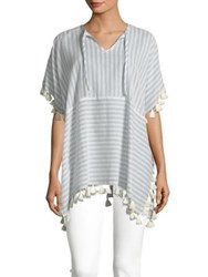 Lord And Taylor Striped Tassel Tunic White