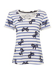 Dickins And Jones Stripe Bow Print T Shirt Multi Coloured