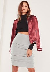 Missguided Grey Slinky Ruched Side Knee Length Skirt
