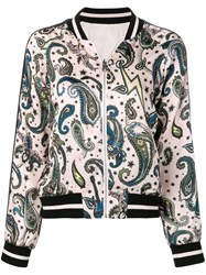 Zadig And Voltaire Paisley Print Bomber Jacket Pink