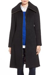 Women's Eliza J Brushed Wool Blend Fit And Flare Coat Black