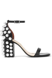 Emilio Pucci Faux Pearl Embellished Leather Sandals Black