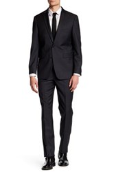 Vince Camuto Charcoal Sharkskin Two Button Notch Lapel Slim Fit Wool Suit Gray