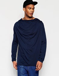 Asos Super Longline Long Sleeve T Shirt With Hooded Drape Neck Navy