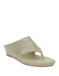 Tahari Mindy Wedge Thong Sandals Gold