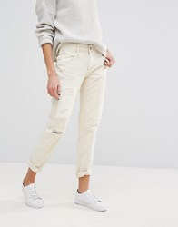 Polo Ralph Lauren Slim Boyfriend Fit Jeans With Rip And Repair Cream White