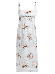 Emilia Wickstead Giovanna Shirred Ship Print Linen Midi Dress Blue Print