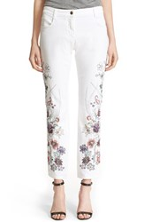 Women's Etro Floral Embroidered Stretch Cotton Boyfriend Jeans White