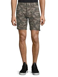 Slate And Stone Camouflage Print French Terry Shorts Green Camo