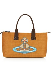 Vivienne Westwood Leather Trimmed Embroidered Canvas Tote Brown