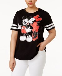 Hybrid Trendy Plus Size Mickey And Minnie Mouse Graphic T Shirt Black