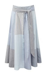 Lisa Marie Fernandez Chambray Patchwork A Line Beach Skirt Multi