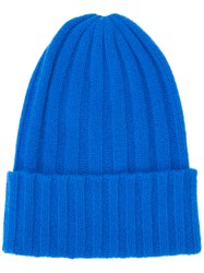 The Elder Statesman Short Bunny Echo Beanie Unisex Cashmere One Size Blue