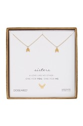Dogeared 14K Gold Plated Sterling Silver Sister Angel Wing Necklaces Set Of 2 Metallic