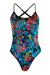 Topshop Tropical Print Swimsuit Multi