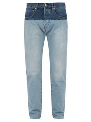 Vetements Two Tone Straight Leg Jeans Light Blue