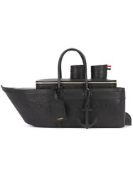 Thom Browne Boat Shaped Tote Bag Men Leather One Size Black