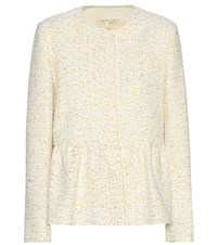 Giambattista Valli Cotton Blend Boucle Jacket White