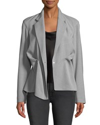 Jason Wu Notched Collar Double Breasted Wool Blend Jacket Light Gray