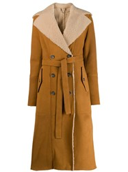 Desa 1972 Shearling Lined Trench Coat Neutrals