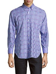 Tailorbyrd Taccoa Checked Cotton Shirt Periwinkle