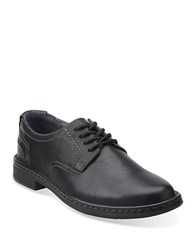 Clarks Kyros Leather Derby Shoes Black Tumble