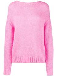 Closed Dropped Shoulder Sweater Pink