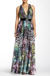 Tov Racerback Printed Maxi Dress Green