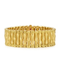 18K Gold Bamboo Bracelet With Diamond Clasp Small Robert Coin