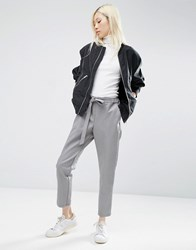 Asos Leather Look Joggers With Tie Grey