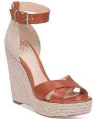 Vince Camuto Maurita Platform Espadrille Wedge Sandals Women's Shoes Summer Cognac Natural