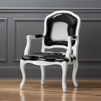 Cb2 Stick Around Black Leather Arm Chair