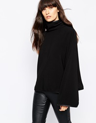 Paisie Funnel Neck Cape Top With Leather Trim Black