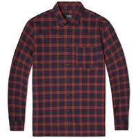 A.P.C. Button Down Overshirt Dark Red