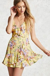 Forever 21 Floral Surplice Cami Dress Yellow Purple