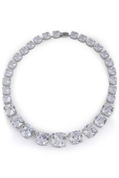 Cz By Kenneth Jay Lane Silver Tone Crystal Necklace Silver