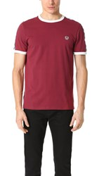 Fred Perry Taped Ringer Tee Maroon