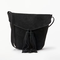 And Or Mila Suede Flapover Tassel Cross Body Bag Black