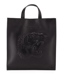Gucci Men's Embossed Leather L'aveugle Par Amour Tiger Tote Black