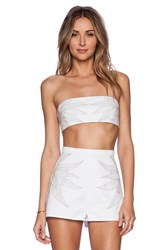 Mara Hoffman Embroidered Denim Bandeau White