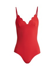 Stella Mccartney Broderie Anglaise Swimsuit Red