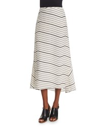 Theory Vivridge Bevel Striped Maxi Skirt Women's Ivory Black