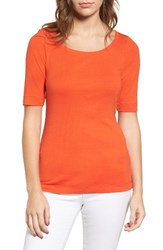 Caslonr Petite Women's Caslon Ballet Neck Cotton And Modal Knit Elbow Sleeve Tee Orange Spice