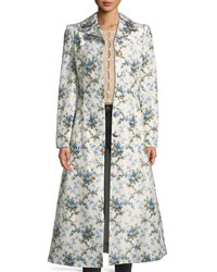 Brock Collection Colette Rose Print Belted Chine Taffeta Corseted Coat Blue Pattern